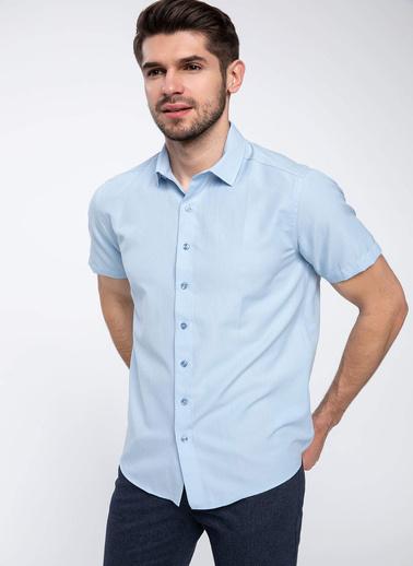 DeFacto Kısa Kollu Modern Fit Gömlek Mavi